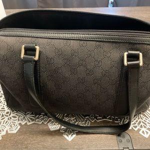 Gucci Authentic Black Canvas Fabric GG Boston bag.